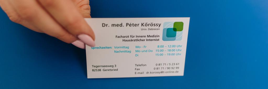 Hausarzt Geretsried - Kőrössy - Impressum - Visitenkarte